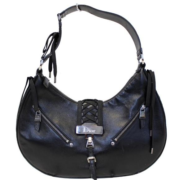 CHRISTIAN DIOR Handbags - CHRISTIAN DIOR LACE UP ADMIT IT LEATHER HOBO BAG B